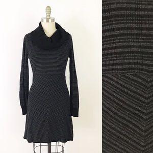 Prana Gray Striped Knit Sweater Dress Cowl Neck